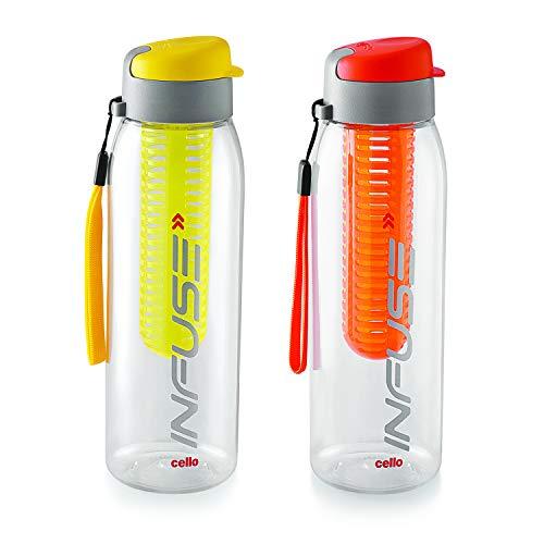 Cello Infuse Plastic Water Bottle Set, 800ml, Set of 2, Yellow/Orange