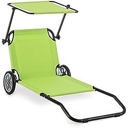 Blumfeldt Maritimo Tumbona de playa con ruedas y toldo (con almohada, secado rápido, compartimiento de red, pórtatil) - verde