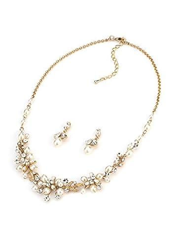 Usabride délicates Perles d'eau douce et strass Plaqué or de mariage Ensemble de bijoux, du cou et de boucles d'oreilles 1637-g