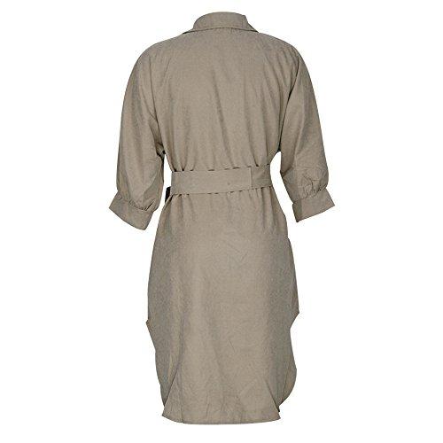 ESHOO Femmes Robe de Soiree Chemise Elegant Robe Crayon Robes Manche Longue Casual Tunique Chic Blouse Kaki