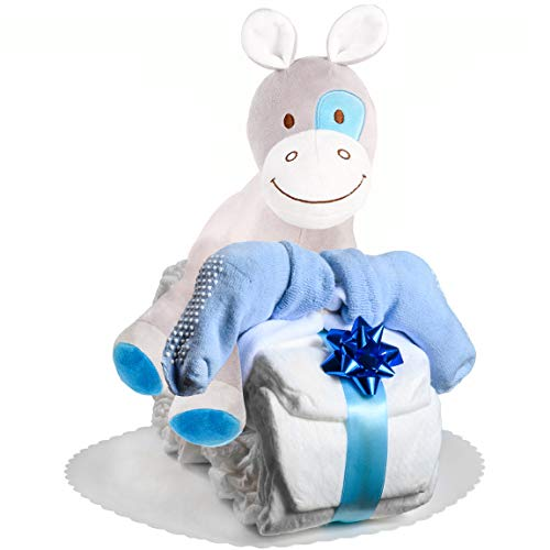 Windeltorte Motorrad in Blau oder Rosa mit Pony-Spieluhr von Homery, perfekt als Geschenk für Junge oder Mädchen als Windelmotorrad zur Baby-Party oder Geburt - Handmade fair hergestellt