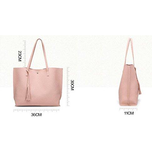 Frauen-Troddel-beiläufige Reine Polyester-Schulter-Beutel-gefranste Handtasche Pink