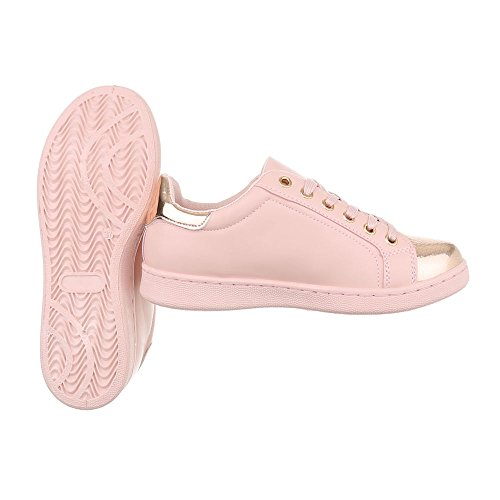 Ital-Design Sneakers Low Damenschuhe Sneakers Low Sneakers Schnürsenkel Freizeitschuhe Rosa 2018-23