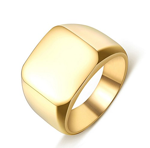 Adisaer Edelstahl Ring Herren GoldEinfach Design Hohe Poiert Ring Für Männer Punk Ringe Größe 70 (Kostüm Das Arabische Muster Pferd)