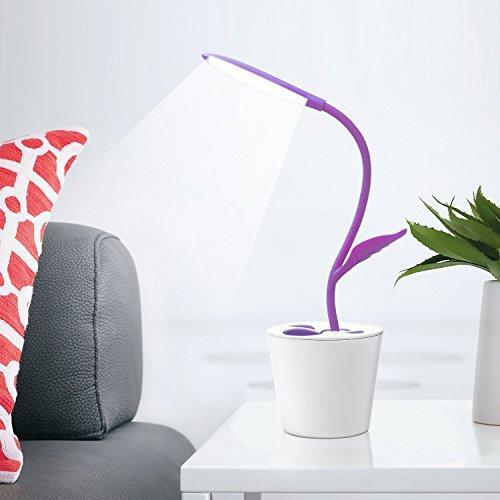 iEGrow dimmbare LED Schreibtischlampe Tischleuchte Augenschutz, 1W 3 Helligkeitsstufen dimmbar, Berührungsempfindlich, Flexibel Leselampe (Purple)