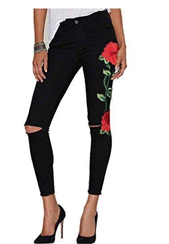 Longra Bordado Rosa-Imprimir, Cintura Alta Pantalones Jeans Mujer Elástico Flacos Vaqueros Leggings...