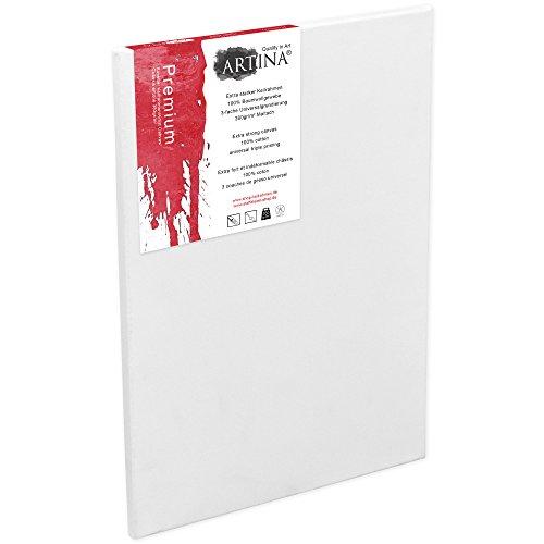 24 Leinwand (Artina 50x70 cm Leinwand aus 100% Baumwolle auf stabilem Keilrahmen in Premium Qualität - weiß vorgrundiert - 380 g/m²)
