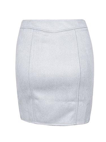 simplee abbigliamento femminile di valle stretta matita corta zip camoscio bodycon minigonna Grigio