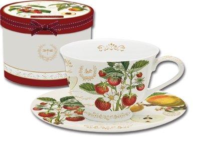 Früchtegarten Tasse Kaffeetasse Becher auf Fuß mit Untertasse Geschenkverpackung 250 ml