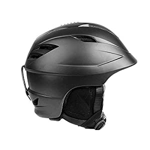 Maxmer Unisex Adult Ski Snowboard Helmet Ultralight Winter Snow Sports Snowmobile Racing Safety Protection Hat 55-58cm, Black M