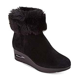 DKNY Womens Aron Faux Fur Round Toe Ankle Fashion Boots, Black, Size 7.5 US / 5. US