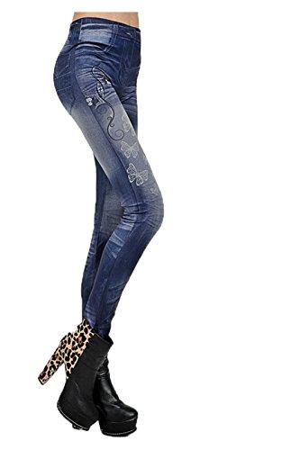YesFashion Femme Pantalon Jegging Uni Fluorescence Elasticité Collant Legging Thermique Troué trou Denim Skinny Bleu papillon