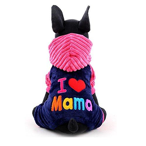 YiZYiF Hoodie Hund Pullover mit Kapuzen I Love Papa/Mama Winter Warme Jacke Haustier Hunde Bekleidung & Zubehör Shirts Sweater XXS-L Rose M