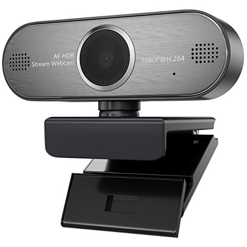 Webcam 1080P HD Pro Stream Video Autofokus Streaming, Aufnahme, Conferencing Digitale Webkamera HDR Video mit Mic USB Widescreen für PC, Laptops und Desktop Mjpeg-video
