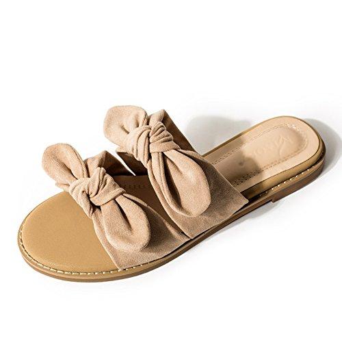 PENGFEI Verano Zapatillas Hembra Fondo Plano Mocasín Corbata De Moño Zapatos De Playa Desgaste Exterior, Altura del Talón 2CM, 2 Colores (Color : Beige, Tamaño : EU38/UK5.5/US7/240)
