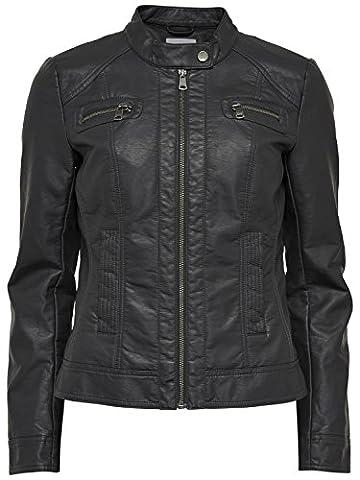 ONLY - BANDIT - Leder PU Jacke Biker - Damen, Farbe:Navy Blue;Größe:XS / 34