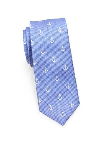 Blackbird Modische Krawatte Anker-Muster, Geriffeltem Fond, 100% Seide, Marke, Hellblau und Navyblau, 8,5 cm, Handarbeit (Hellblau)