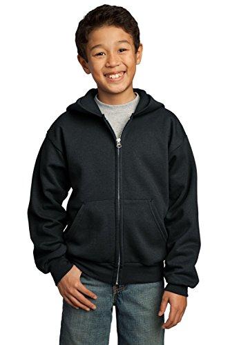Port & Company Youth Full Zip Fleece Hooded Sweatshirt - Youth Full Zip Hoody