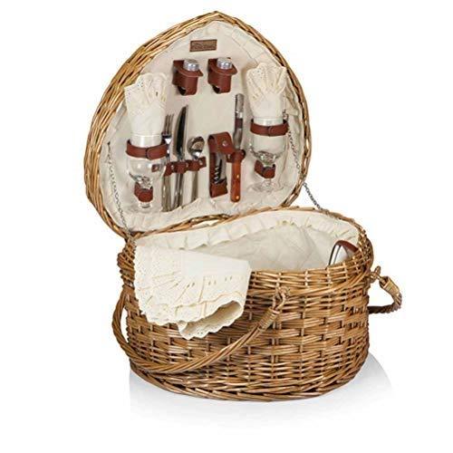 DJSMycl Herzförmige Wicker Picknickkorb Obstkorb Rattan Lagerung blau tragbare Geschenk blau pastoralen Picknickkorb Ablagekorb Picknickkorb -