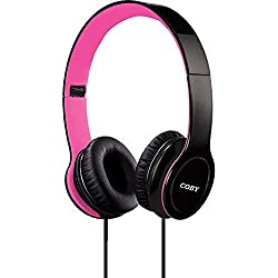 Coby CVH-801-PNK Folding Stereo Headphones, Pink