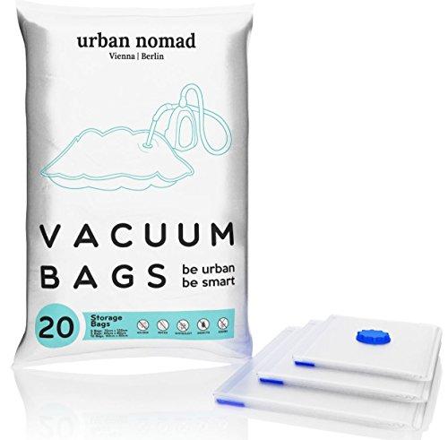 Vakuumbeutel Set - 20 Premium Vakuum Aufbewahrungsbeutel - Vakuumierbeutel in 3 Größen für Staubsauger - Kompressionsbeutel Kleidung, Bettdecken, Bettwäsche, Reisen - Vacuum Bags Kleiderbeutel