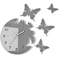 Reloj de pared redondo Mariposas Gris 30 cm habitacion de salon estilo moderno 3d silencioso