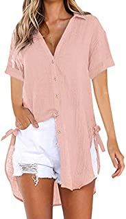 TINGZI Womens Loose Button Long Shirt Dress Cotton Ladies Casual Tops T-Shirt Blouse V Collar Solid Comfy Tuni