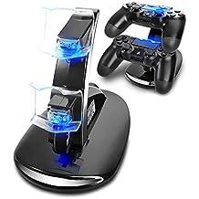 Konky - Estación de carga rápida USB con soporte doble para mandos de Playstation 4PS4 o PS4Slim Pro, con indicador LED