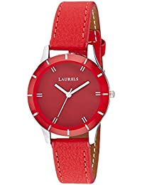 Laurels Colors Red Dial Analog Wrist Watch - For Women