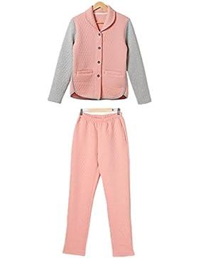 DMMSS Ladies Square impunture collo colore laminato cotone pigiama Set tessuta , orange powder / linen , xxl