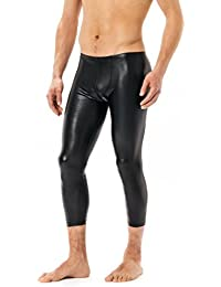 Latex- ähnliche 3/4 Hose Herren - Vinyl Leggings Männner black VERANO Wetlook