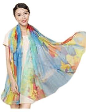 Efudfj Lady Silk Scarf Colorido Gradiente Simple Hermoso Suavidad Bacteriostatic Función Fácil De Fade Scarf Shawl...