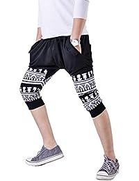 LIANIHK Hombres Casual Harem Holgado Hip Hop Danza Relajado Pantalones De Chandal cortos