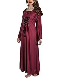 Robe d'été médiévale avec manches cloches et cordelette rouge