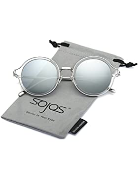 e40257d99a SOJOS Gafas De Sol Unisex Doble Color Marco Metal Lentes Redondas SJ1058