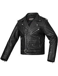 Bohmberg Premium- Chaqueta pesada de motociclista 100% cuero duradero para hombre - S