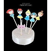 Kit di decorazioni torta compleanno tema PRINCIPESSE con candelina