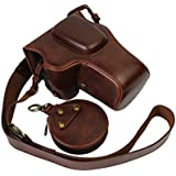 VIXFANNY PU Leather Camera Case Bag With Neck Strap And Accessories Storage Case Kit For Nikon D3400 With 18-55mm VR II Lens Compact System DSLR Camera - Coffee