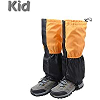 TRIWONDER Unisex Snow Leg Gaiters Impermeable Boot Polainas Senderismo Caminar Escalada Caza Ciclismo Leggings Cubierta (1 par)(Naranja y Negro - Niño)