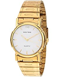 Swiss Trend Mens Golden Watch With White Dial