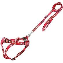 sourcingmap Nailon Ajustable Perro Arnés de seguridad correa de cinta, color rojo