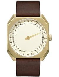 Slow Jo 18 - Marron foncé vintage Unisexe en cuir or cadran doré Montre à quartz avec cadran doré, affichage analogique et bracelet en cuir marron foncé