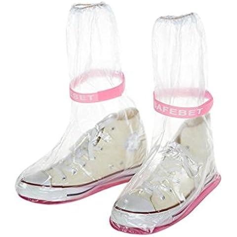 QHGstore 1 par de zapatos de las mujeres a prueba de agua cubierta de la lluvia Anti Slip en PVC Overshoes Fundación Rosa Transparente L
