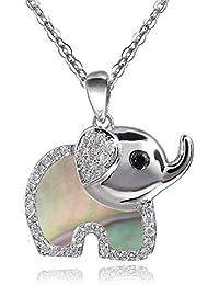 MATERIA 45cm ancla cadena con mujer niños Nácar verde cadena colgante elefante plata 925Circonita # 348–30_ GR