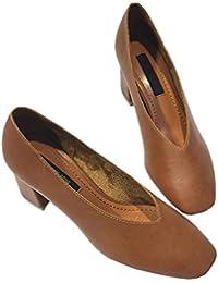 áspera casual con cabeza cuadrada baja de la boca con los zapatos bajos de cuero zapatos de cuero suave y cómodo individuales , yellow brown , 7.5