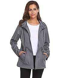 Saingace Women s Waterproof Lightweight Jacket Hiking Camping Outdoor  Hooded Overcoat Raincoat d214c7bb8