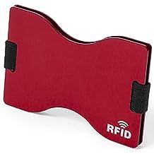 Tarjetero RFID Metálico de Aluminio B2action. Resistente y Cómodo. Bloqueo 100% de RFID para Varias Tarjetas. Color Rojo.