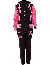 Top Fashion's Femme Blouson Survêtement Equipe Baseball Université Avec Capuche R-FOX 61, Tailles 36 à 42