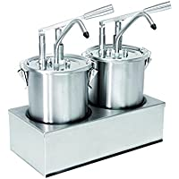 Sauce Dispenser (2 Compartment) Pack of 5 Litres Stainless Steel with Lever Operation
