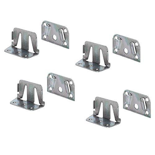 Gedotec Bettverbinder Metall Bett-Winkel für Bettkonstruktionen - Holz-Mittelbalken & Lattenrost   Bettsockel-Verbinder zum Einhängen   Bettbeschlag Stahl verzinkt   4 Set - Einhängebeschlag